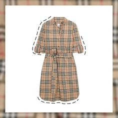 We just can't get enough of BURBERRY's iconic check print. It has been in use since at least the 1920s, primarily as a lining in its trench coats, but now we also wear it on shirts, pants and accessories.😍 Burberry Dress, Burberry Shirt, Burberry Women, Beige, Cotton Shirt Dress, Check Dress, Dress Shirts For Women, Roll Up Sleeves, Mi Long