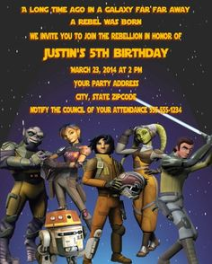 Star Wars Rebels Invitation Birthday Party 5th