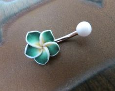 Green Hawaiian Flower Plumeria Belly Button Ring by Azeetadesigns