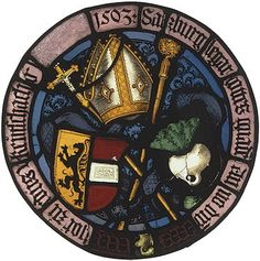 A stained-glass panel depicting the coat of arms of the bishop of Salzburg, Austria, 1503. (The State Hermitage Museum)
