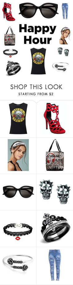 """""""Contest: Happy Hour"""" by myhappylittlecottage ❤ liked on Polyvore featuring Miss Selfridge, C Label, LULUS, Thumbprintz, Bling Jewelry, rippedjeans, cocktails, rocknroll and happyhour"""