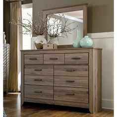 Create a more natural feel in your bedroom today with this lovely pairing of a dresser and mirror by Ashley Zelen. The elegant style will simply wash over you and your former room atmosphere. Bedroom Furniture Stores, Bar Furniture, Furniture Deals, Home Decor Bedroom, Modern Bedroom, Furniture Design, Kitchen Furniture, Decor Room, Furniture Projects