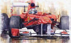 Gallery of artist Yuriy Shevchuk: Ferrari 150 Italia Fernando Alonso 2011 Car Painting, Watercolour Painting, Ferrari F1, Car Drawings, Automotive Art, F1 Racing, Art Pages, Exotic Cars, Vintage Cars