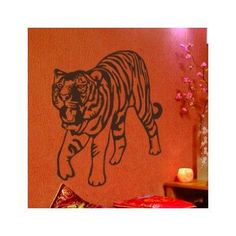 "Style and Apply Tiger Wall Decal Size: 31"" H x 37"" W, Color: Pink"