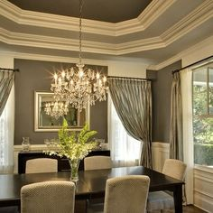Traditional Dining Room White And Grey Dining Room Design, Pictures, Remodel, Decor and Ideas - page 3 Dining Room Paint Colors, Dining Room Design, Dining Rooms, Dining Area, Bedroom Colors, Dining Table, Dinning Nook, Dining Decor, Wall Colors