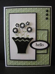 SC281 Green card Hello by lisaadd - Cards and Paper Crafts at Splitcoaststampers