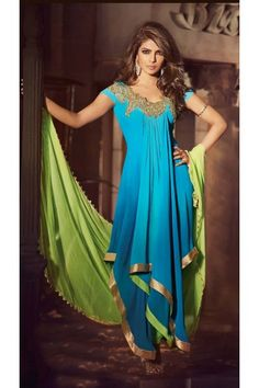 Light Blue and Light Green  Faux Georgette Long Length Anarkali