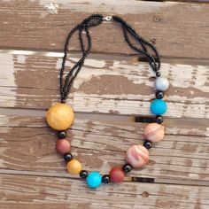 Make this chunky hollow bead Solar System necklace with this tutorial. Perfect project for beginner clay bead makers.