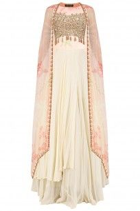 ARPITA MEHTA Ivory Two Layered Skirt with Gold Blouse and Dusty Pink Cape