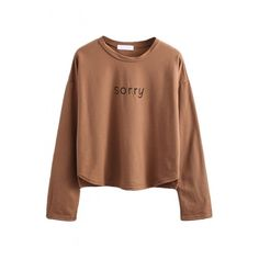 Long Sleeve Letter Print Round Neck Tee ($12) ❤ liked on Polyvore featuring tops, t-shirts, shirts, sweaters, long sleeves, brown long sleeve tee, longsleeve t shirts, long sleeve shirts, pattern shirt and long-sleeve shirt