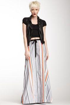 Seersucker Stripe Long Skirt