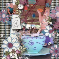 Tea With Alice  Digital Scrapbooking kit Collection by LouCee Creations, Garden Party Templates #2  Heartstrings Scrap Art  Layout by djw #digitalscrapbooking #scrapbooking #memorymaking #layout #inspiration