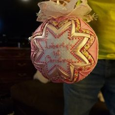 Personalized baby ornament, baby gift, quilted Christmas bauble, quilted ornament with cross stitch message, baby's first christmas ornament Folded Fabric Ornaments, Quilted Ornaments, Baby Ornaments, Snowflake Quilt, Unique Housewarming Gifts, Summer Quilts, Ornament Tutorial, Babies First Christmas, Christmas Tree Ornaments
