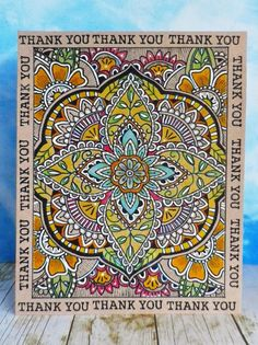 This card started out as a way of trying out some gorgeous green and blue Faber-Castell pencils that my friend sent me - Hero Arts Spice Market Large Petal Background Zentangle, Diwali Cards, The Ton Stamps, Card Making Designs, Card Designs, Hero Arts Cards, Homemade Greeting Cards, Embossed Cards, Beautiful Handmade Cards
