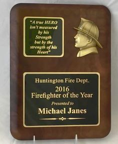 Rounded Walnut Firefighter Recognition Plaque