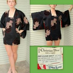 "Vintage CHRISTIAN DIOR 70s Silk Kimono Top/Jacket ABSOLUTELY FABULOUS, guaranteed authentic vintage CHRISTIAN DIOR FOR NEIMAN MARCUS late 70s to early 80s ""Asian dragon""-themed kimono~~ Super sought-after and getting harder to find, this is boho chic today and OH SO TRENDY AGAIN~~~ Thick, sturdy BLACK/RED Silk Faille and lined in Satin; comfy and GORGEOUS!.....EXCELLENT vintage condition; Some minor wear to the inside lining - Could benefit from a good dry cleaning~~~ One Size Fits Most: 31""…"