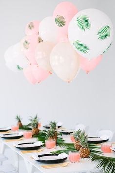 "Pink and green done right can be SO GOOD. It is proved by this ""Palm Fronds and Bon Bons"" dinner party"