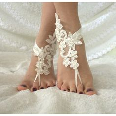 Wedding Sandals Barefoot Sandals, french lace, Nude shoes, Foot... ($30) ❤ liked on Polyvore featuring shoes, sandals, beach anklet, nude footwear, lace anklets, belly dance shoes and beach footwear