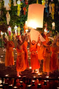 On the night of the full moon in November, Thailand celebrates Loi Krathong and the Yi Peng festival - here monks are releasing floating lanterns into the night sky after a beautiful ceremony of chanting.