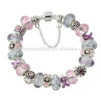 European Style Murano glass beads pink ribbon breast cancer awareness charm bracelet for women gilrs lady AF41