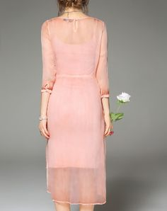 Pink Silk Flare Sheer Midi Dress with Camisole