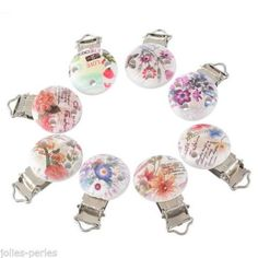 25PCs Mixed Flower Pacifier Clips Round Wooden Colorful Infant Baby Soother