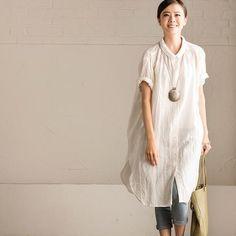 Vintage Cotton Linen Long White Shirt Summer Blouse Women Summer Clothes C7081A