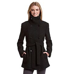 Calvin Klein Double Breasted Basketweave Peacoat | www.younkers.com