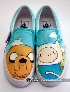 Adventure time vans - All About Painted Vans, Hand Painted Shoes, Custom Vans Shoes, Custom Sneakers, Adventure Time Clothes, Adventure Time Crafts, Adventure Boots, White Slip On Vans, Adveture Time