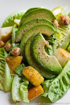 Little Gem Salad    Frog Hollow warren pear, spicy candied hazelnuts, gwen avocado, champagne & dijon viaigrette. Brassica Supperclub 3.1. Everything here is vegan.