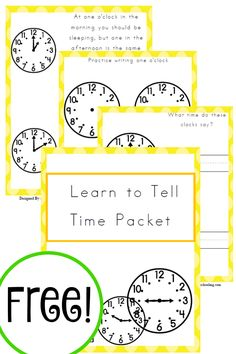 Free Learn to Tell Time Packet - Year Round Homeschooling - Learning to Tell Time Homeschool Kindergarten, Elementary Math, Homeschool Curriculum, Preschool Writing, Homeschooling Resources, School Resources, Math Resources, Preschool Activities, Teaching Time