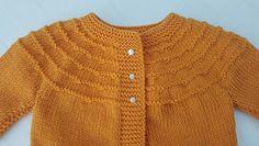 JUBILOCIOS: CHAQUETA FÁCIL CON CANESÚ PARA BEBÉS Baby Cardigan Knitting Pattern, Baby Knitting, Knitting Patterns, Men Sweater, Sweaters, Kids, Wicca, Fashion, Monogram Alphabet