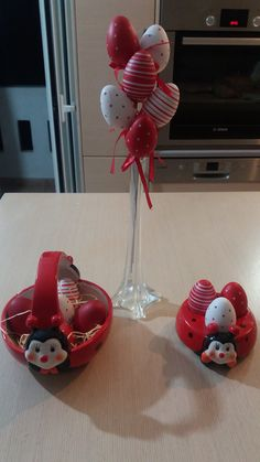 Red and white Easter eggs decor