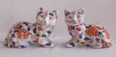 Antique 19thC Japanese Imari Porcelain Pair of Cats Hand Painted Signed | eBay