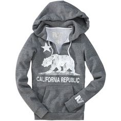 California Republic Cute Bear Pullover Hoodies Fashion Hooded Sweatshirt Mens Black