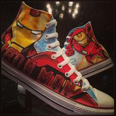 Iron Man Custom Converse All Stars von VeryBadThing auf DeviantArt - School Custom Converse, Converse Men, Converse All Star, Custom Shoes, Painted Converse, Painted Canvas Shoes, Hand Painted Shoes, Marvel Shoes, Marvel Clothes