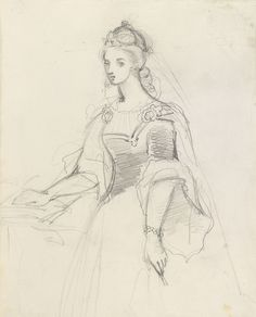 A female figure circa 1855circa 1858 by Empress Friedrich, consort of Friedrich III, Emperor of Germany & King of Prussia, 1st daughter of Queen Victoria (1840-1901)
