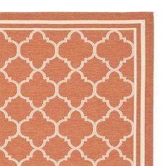 Safavieh CY6918-241 Courtyard Indoor/Outdoor Area Rug, Terracotta/Bone