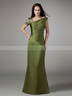 Asymmetrical Neckline Satin Long Mother of the Bride Dress