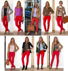 Great style ideas for red skinny jeans. Must buy a pair for myself eventually; it would go so great with my Superman & Captain America shirts. :)