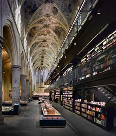 Bookshop Selexyz Dominicanen converted from an old Dominican church in Maastricht,Netherlands. Designed by Merkz+Girod Architects.