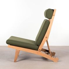 Hans Wegner AP71 Lounge Chair with Dark Green Fabric for AP Stolen, Denmark 3
