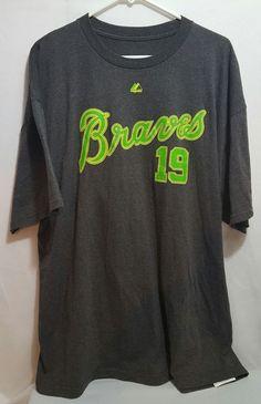 LIME GREEN AWESOMENESS Simmons Majestic Atlanta Braves T-Shirt MLB MENS 2XL RARE #Majestic #AtlantaBraves