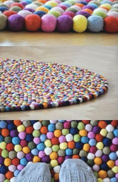 Pompoms! This would make an awesome meeting rug for the class...but maybe hard to clean