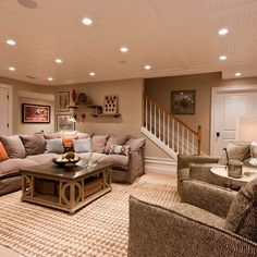 Cozy basement with recessed lighting