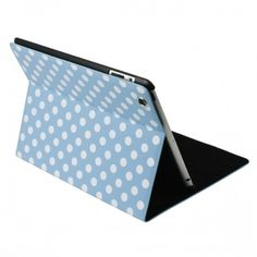 For the New iPad 3 Smart Cover Folio Stand Polka Dot with Inner Hard Bracket - Blue White US$17.99