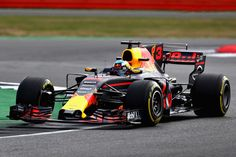 Daniel Ricciardo of Australia driving the (3) Red Bull Racing Red Bull-TAG Heuer RB13 TAG Heuer on track during practice for the Formula One Grand Prix of Great Britain at Silverstone on July 14, 2017 in Northampton, England.