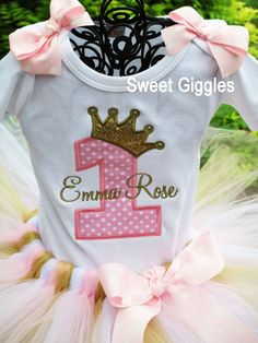 1st Birthday Tutu Outfit Pink and Gold by SweetBirthdayGiggles