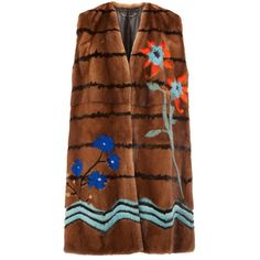 Fendi Botanical Garden sleeveless coat ($22,000) ❤ liked on Polyvore featuring outerwear, coats, brown, brown coat, fendi coat, mink coat, fendi and mink fur coat