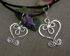 Mother Daughter Celtic Heart Pendants - Matching Sterling Silver Wire Necklaces - Mother's Day - Mommy and Me. $28.50, via Etsy.